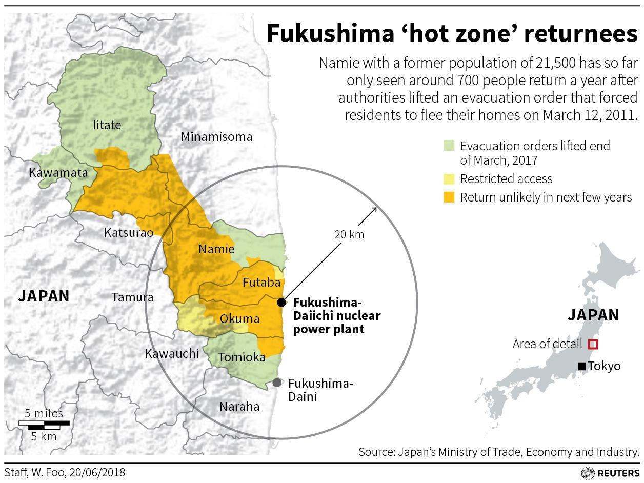 Six Years After Fukushima Nuclear Disaster Residents Trickle Back - Japan map fukushima