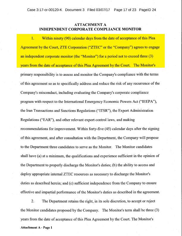 Modifying The Zte Agreement